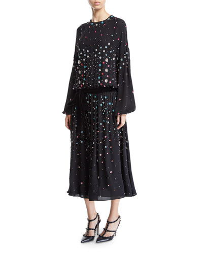 Long-Sleeve Floral Embroidered Blouson Dress