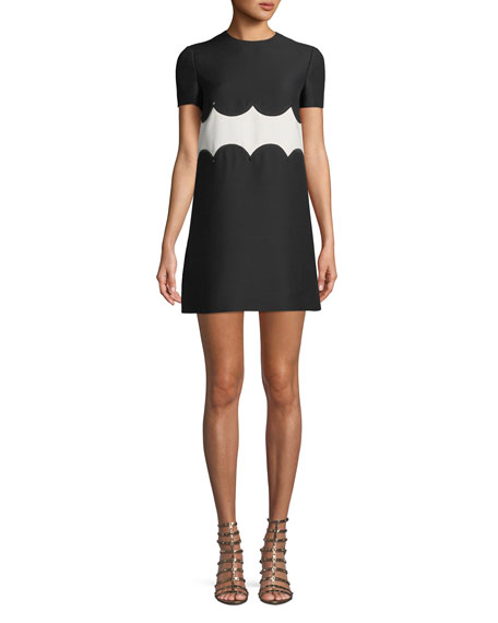 Short-Sleeve Crepe-Couture A-Line Dress W/ Rockstud Waist in Black