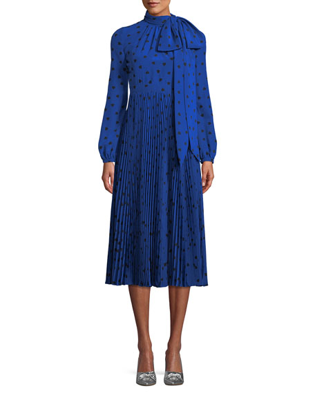 Pussy-Bow Pleated Printed Silk Midi Dress in Blue