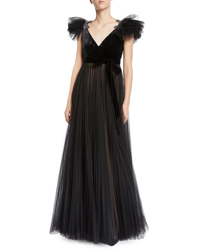 Velvet-Bodice Butterfly-Shoulder Tulle Ball Gown