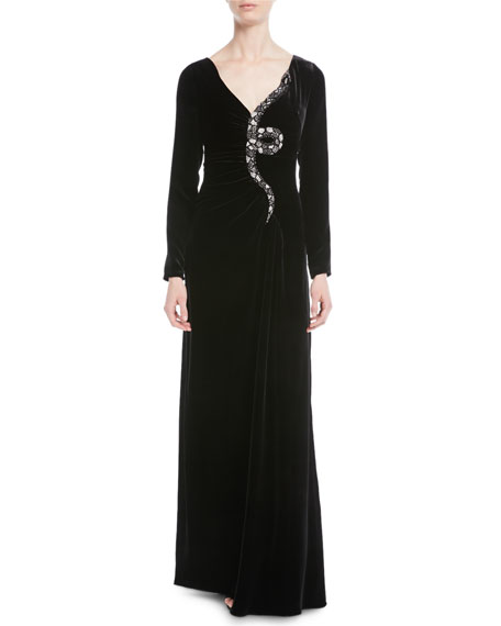 Crystal And Bead-Embroidered Snake Velvet Gown in Black