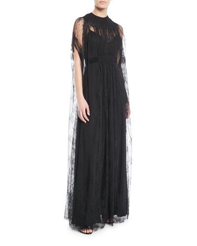 Lace-Cape A-Line Evening Gown