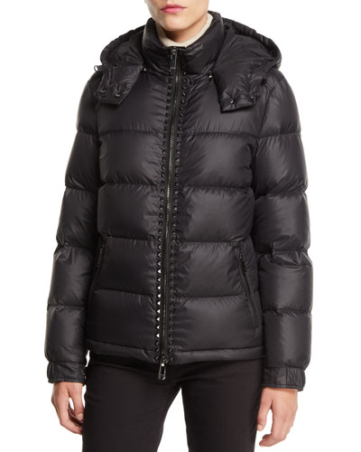 Zip Front Rock Stud Nylon Puffer jacket