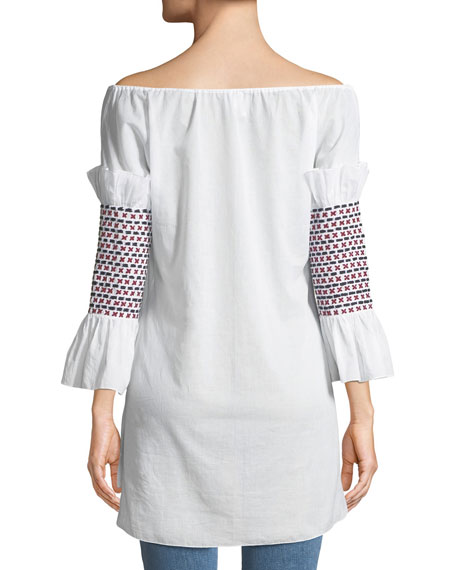 Off-the-Shoulder Smock-Sleeve Cotton Voile Top w/ Embroidery