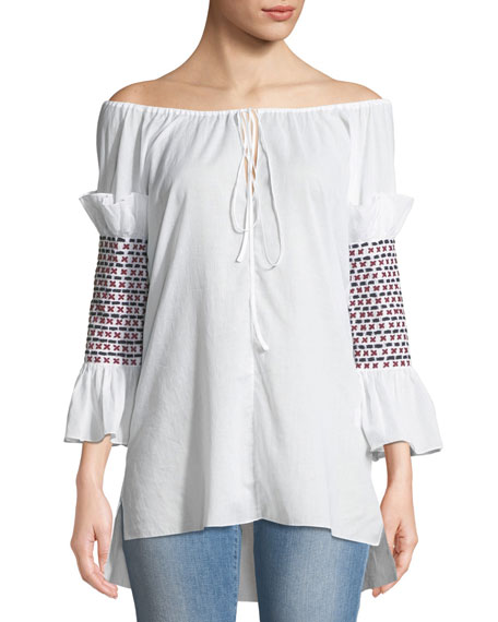 Rosie Assoulin OFF-THE-SHOULDER SMOCK-SLEEVE COTTON VOILE TOP W/ EMBROIDERY