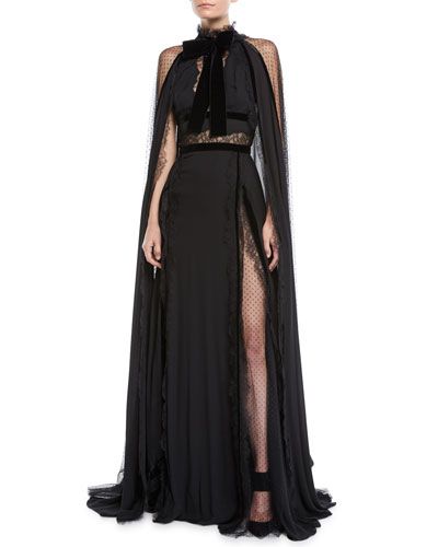 Long Crepe Georgette Cape Evening Gown w/ Lace & Velvet Details