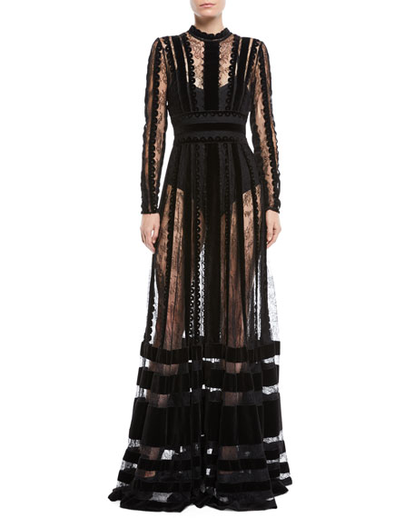 ELIE SAAB LONG-SLEEVE LACE AND VELVET INSET EVENING GOWN
