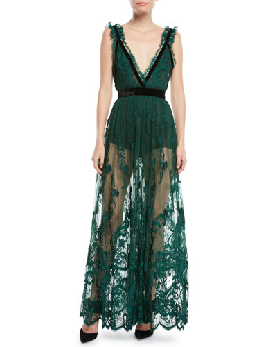 Plunging Sleeveless Lace Gown w/ Velvet Trim