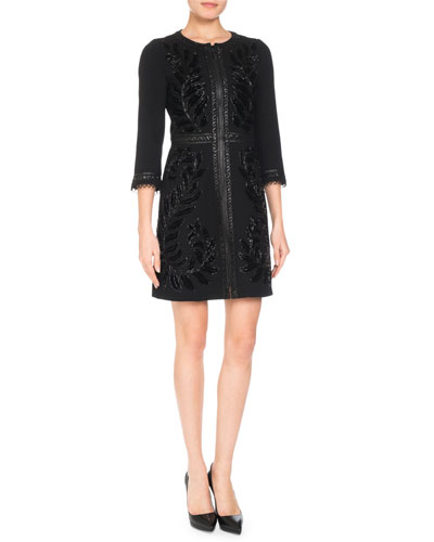 3/4-Sleeve Embroidered Wool-Blend Coat