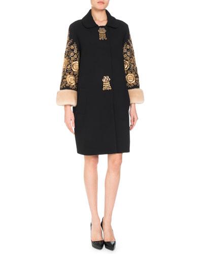 Tassel-Front Embroidered Wool-Blend Coat w/ Fur Cuffs