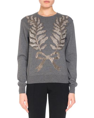 Bow & Leaf Embellished Knit Sweater