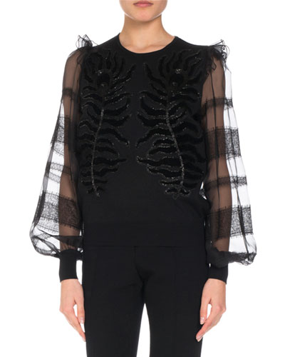 Embroidered Knit Top w/ Organza & Lace Sleeves