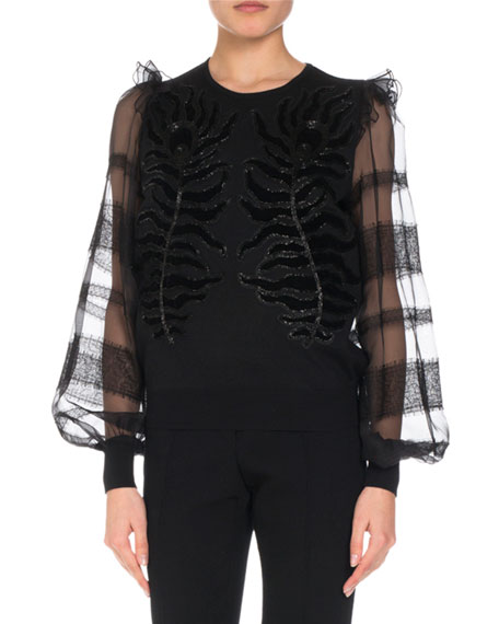 Andrew Gn Embroidered Knit Top w/ Organza &