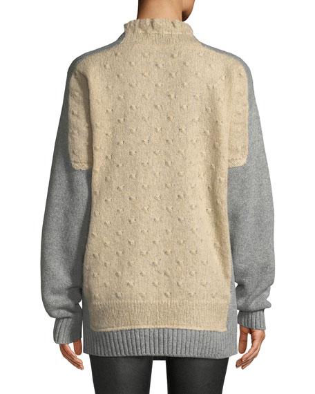 Textured Tie-Neck Wool Sweater