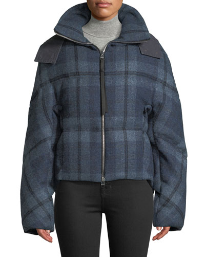 Check Flannel Cropped Puffer Jacket