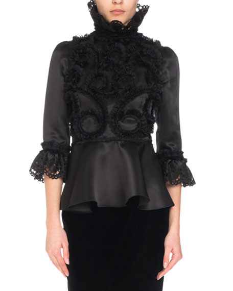 3/4-Sleeve Silk Ruffle-Embroidered Blouse w/ Dramatic High Neck
