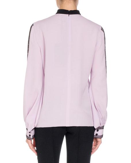 Long-Sleeve Lace-Trim Silk Blouse w/ Neck Tie