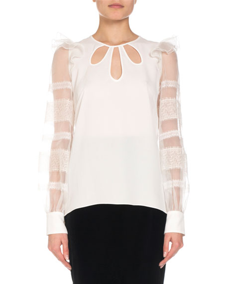 ANDREW GN SILK KEYHOLE BLOUSE W/ ORGANZA & LACE SLEEVES