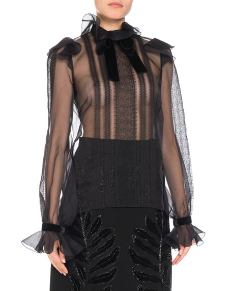 ANDREW GN SILK ORGANZA LONG-SLEEVE LACE-TRIM BLOUSE