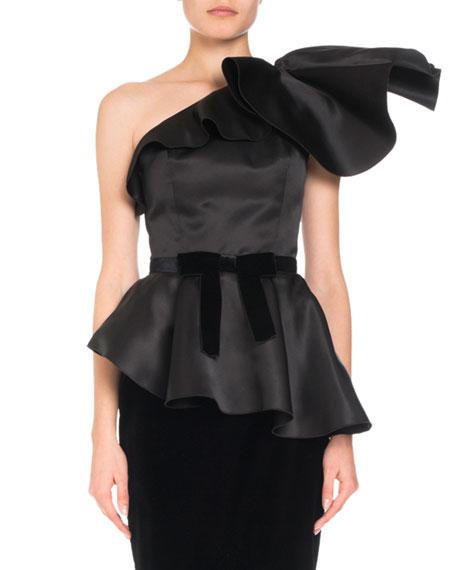 Dramatic One-Shoulder Silk Peplum Top