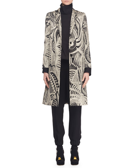 Peacock-Pattern Jacquard Single-Breasted Coat