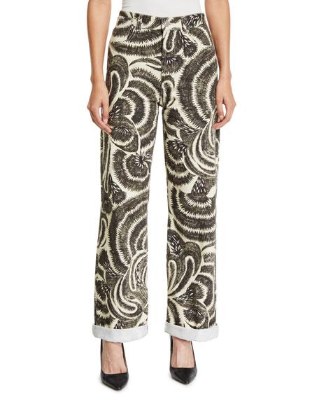 Pisco Wide-Leg Cropped Sun-Catcher Printed Jeans, Black