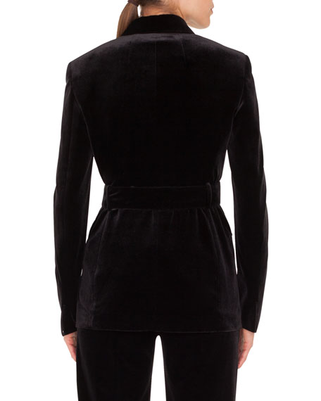 Silvana Double-Breasted Velvet Jacket w/ Self-Belt