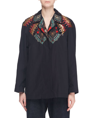 Embroidered-Top Button-Front Long-Sleeve Cotton Shirt