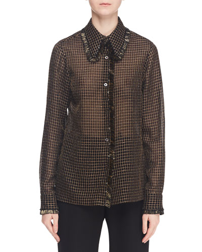 Long-Sleeve Button-Front Metallic Grid-Check Shirt