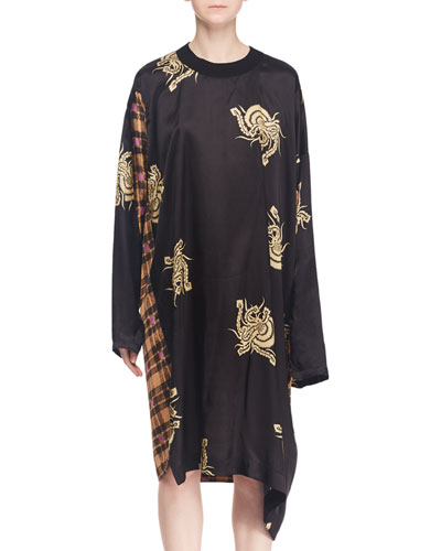 Crewneck Long-Sleeve Abstract-Floral Check Mixed-Print Tunic Dress