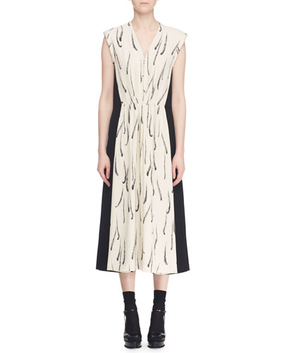 V-Neck Sleeveless Zip-Front Feather-Print A-Line Dress