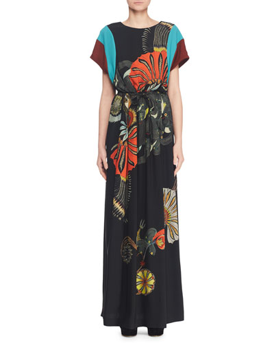 Round-Neck Short-Sleeve Peacock-Print Cotton Maxi Dress