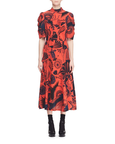 Dario Short-Sleeve High-Neck Printed Silk Long A-Line Dress
