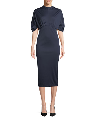 Mock-Neck Puff-Sleeve Jersey Body-Con Midi Dress