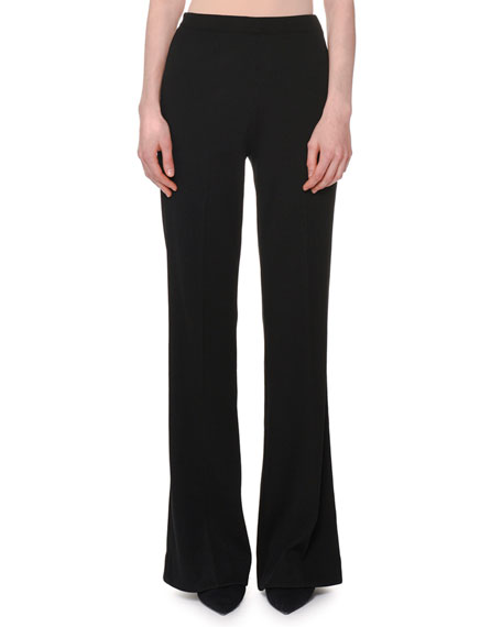 High-Rise Wide-Leg Ribbed Pants