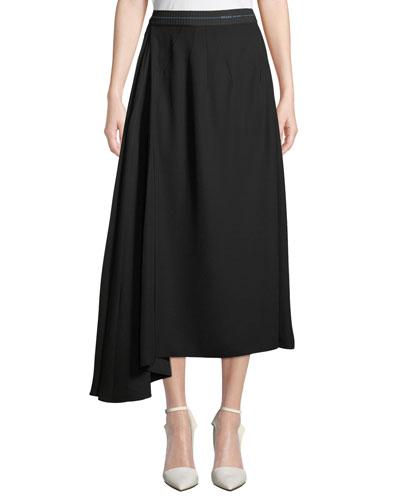 Side-Drape Crepe Tea-Length Skirt