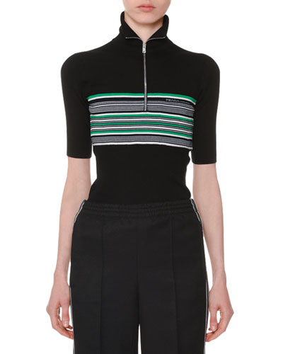 Stand-Collar Zip-Front Striped Silk-Wool Sweater