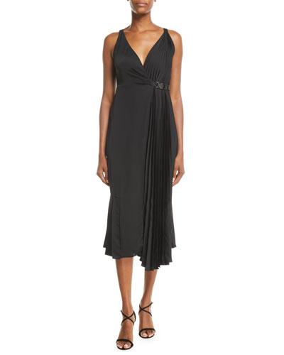 Pleated-Side V-Neck Sleeveless Midi Wrap Cocktail Dress
