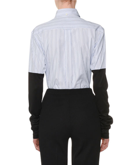Button-Down Long Jersey-Sleeves Striped Poplin Shirt