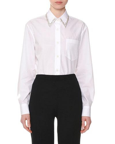 Embellished-Collar Long-Sleeve Button-Front Cotton Poplin Shirt Quick Look.  Prada