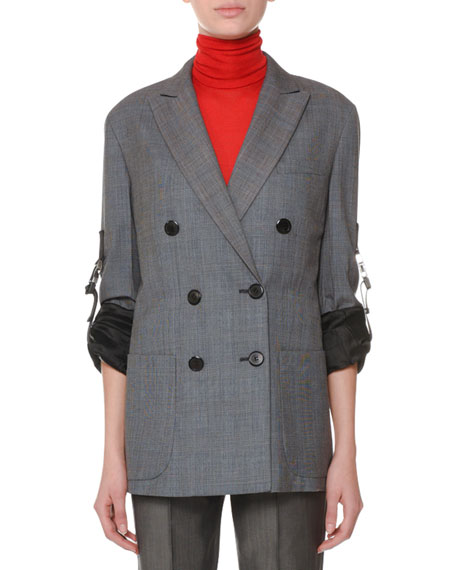 Double-Breasted Oversized Plaid Wool Blazer in Grey