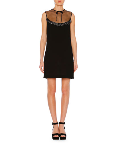 Sheer-Neck Jeweled Sleeveless Crepe A-Line Cocktail Dress