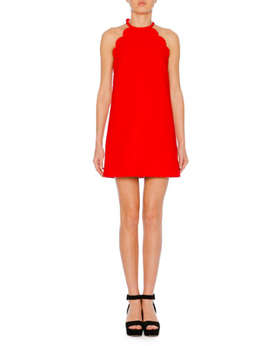High-Neck Scalloped Sleeveless A-Line Cady Dress
