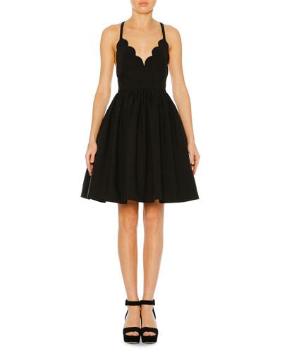 Scalloped-Neck Sleeveless Fit-and-Flare Cocktail Dress