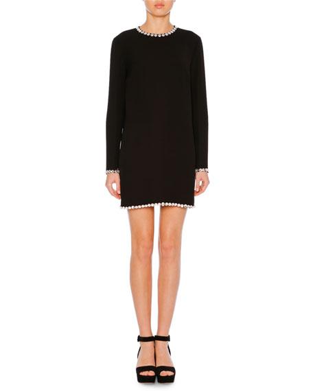 Jewel-Neck Long-Sleeve A-Line Crepe Mini Dress w/ Embellishments