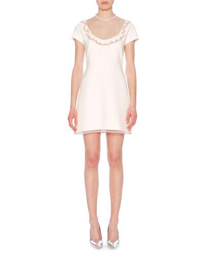 High-Neck Cap-Sleeve A-Line Cady Dress w/ Lace Trim