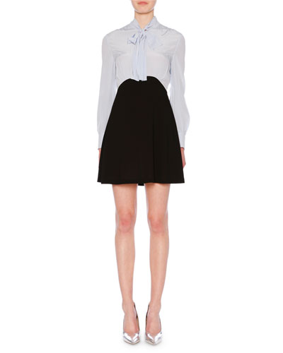 Tie-Neck Crepe de Chine Blouse Long-Sleeve Crepe Skirt Cocktail Dress