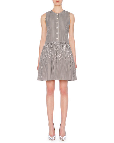 Crewneck Sleeveless Button-Front Fit-&-Flare Striped Dress w/ Crystalized Studs
