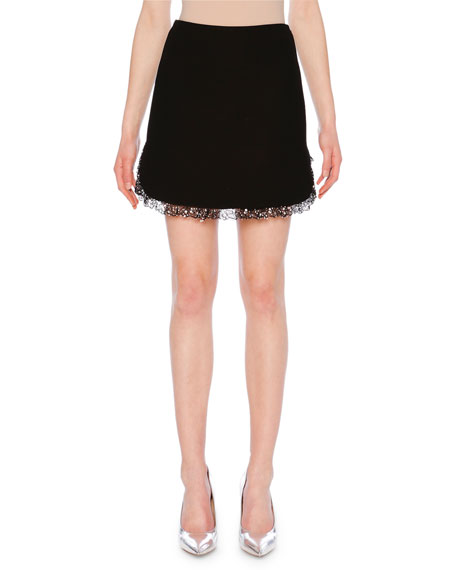 Jeweled-Hem Cady Mini Skirt