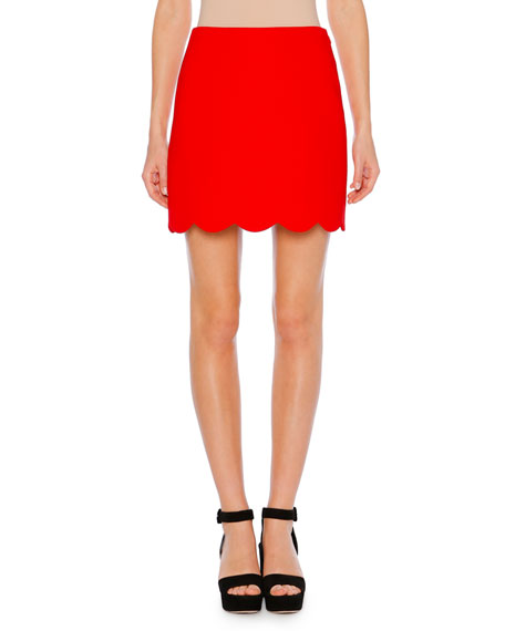 A-Line Cady Mini Skirt W/ Scalloped Hem in Red